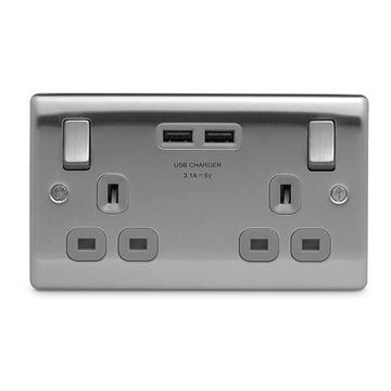 Picture of BG NBS22U3G Switched Socket 2G 13A 3.1A